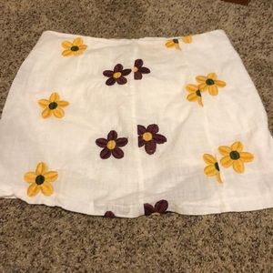 Yellow and maroon flowered skirt